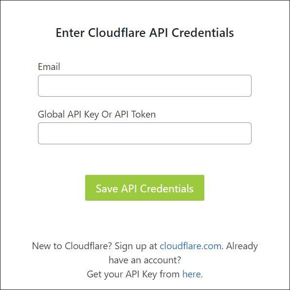A screenshot of log in menu in Cloudflare WordPress plugin