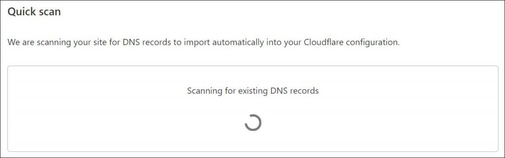A screenshot of Cloudflare DNS scan