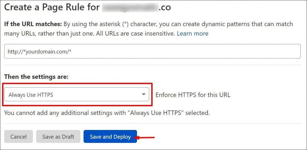 How to set SSL rule to Always Using HTTPS in Cloudflare