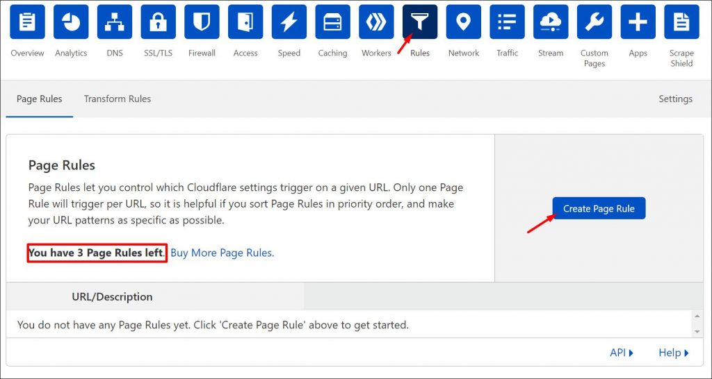 Finding the rules menu in Cloudflare