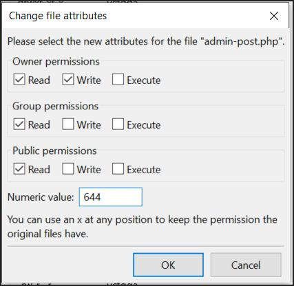 Setting 644 permissions to files of one's WordPress website