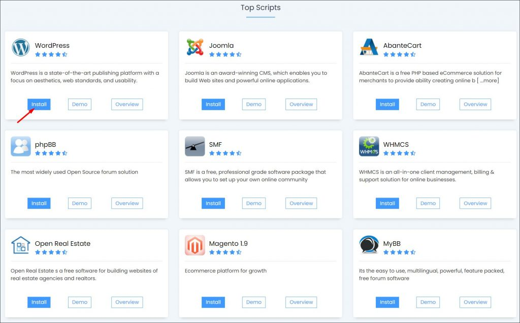 Installing WordPress with cPanel - a screenshot of the different Softaculous apps.