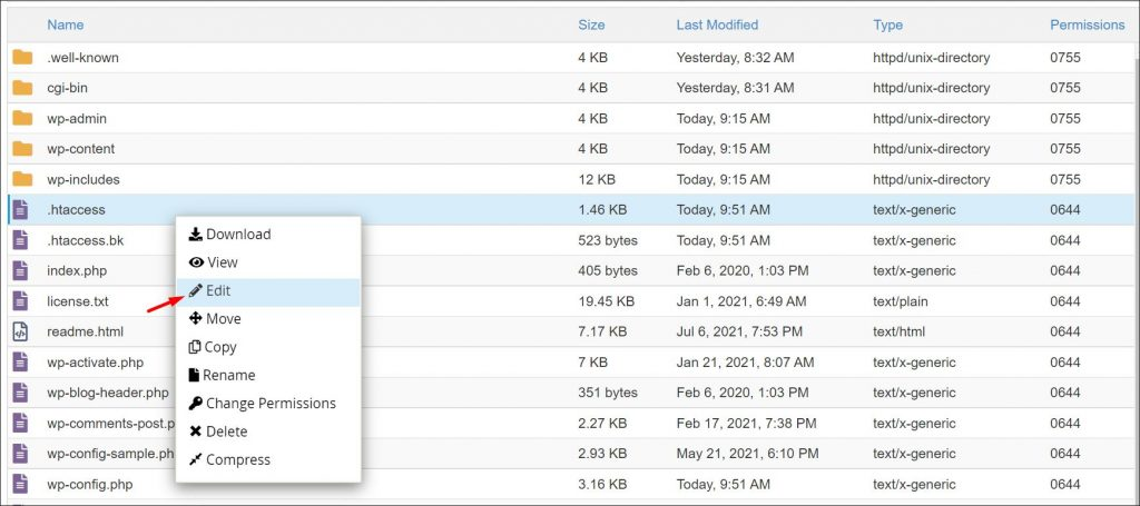 How to edit different files of your WordPress site inside cPanel file manager