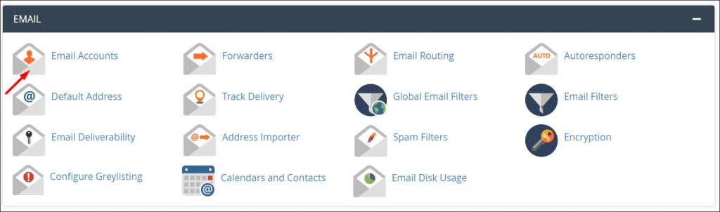 A screenshot of cPanel email settings