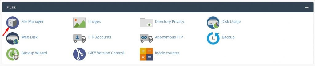 A screenshot of cPanel file manager button