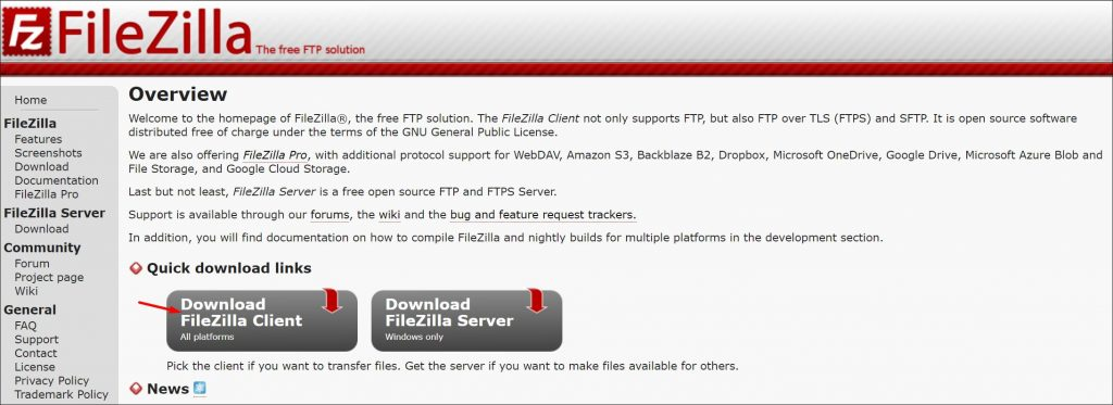 FileZilla FTP Manager download page