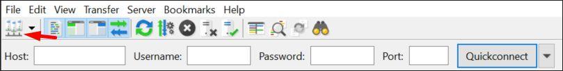 FileZilla FTP manager menu