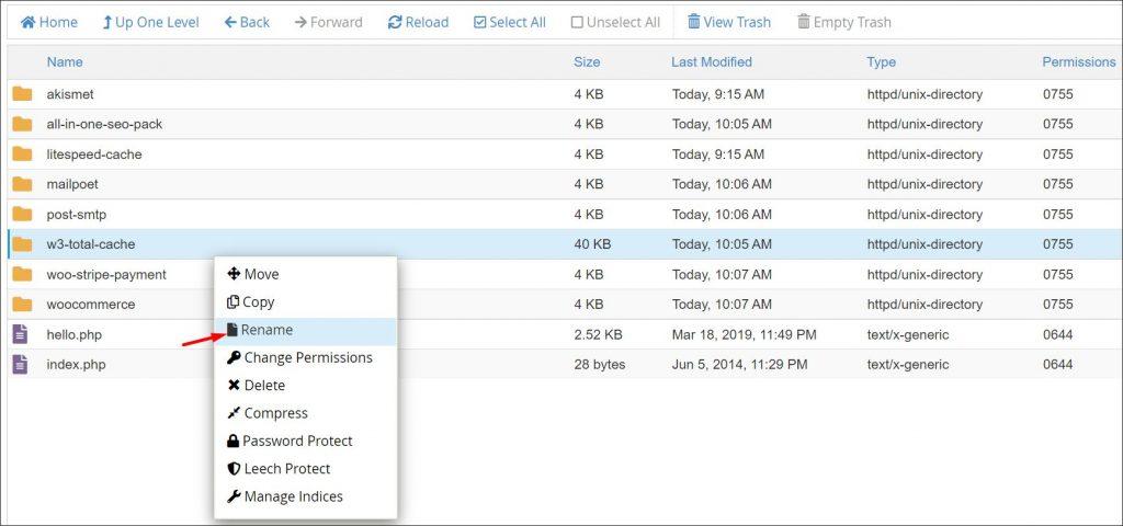 Renaming WordPress plugin folder to disable it using cPanel file manager