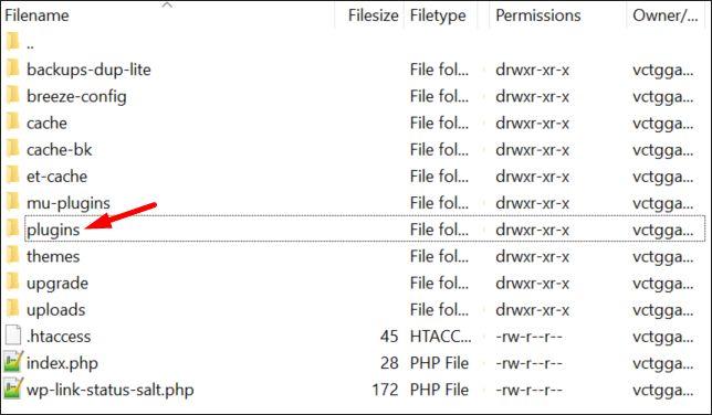 Finding plugins folder using FileZilla FTP manager