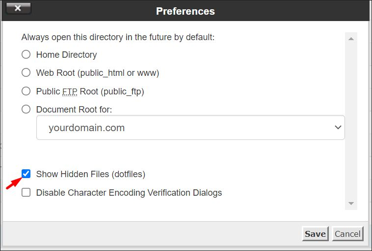 How to show hidden files inside cPanel file manager