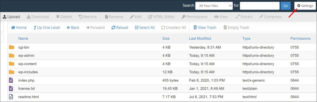 Where to find cPanel file manager settings