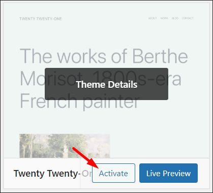 Twenty Twenty One WordPress theme activation