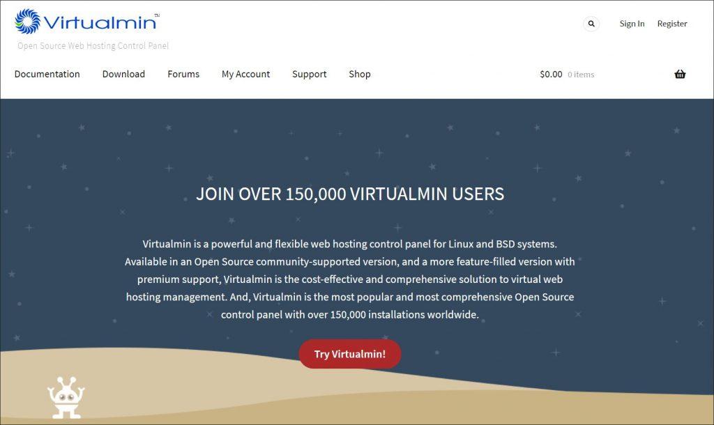 A screenshot of Virtualmin's homepage