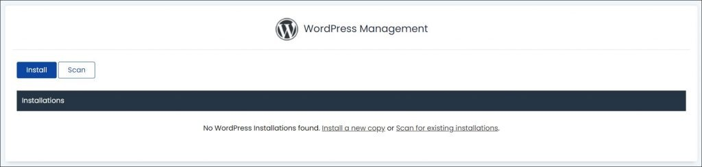 Installing WordPress with cPanel - a screenshot of WP management dashboard.