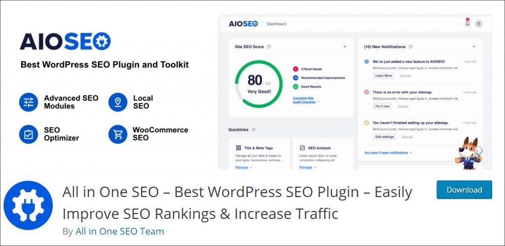 A screenshot of AIOSEO plugin page