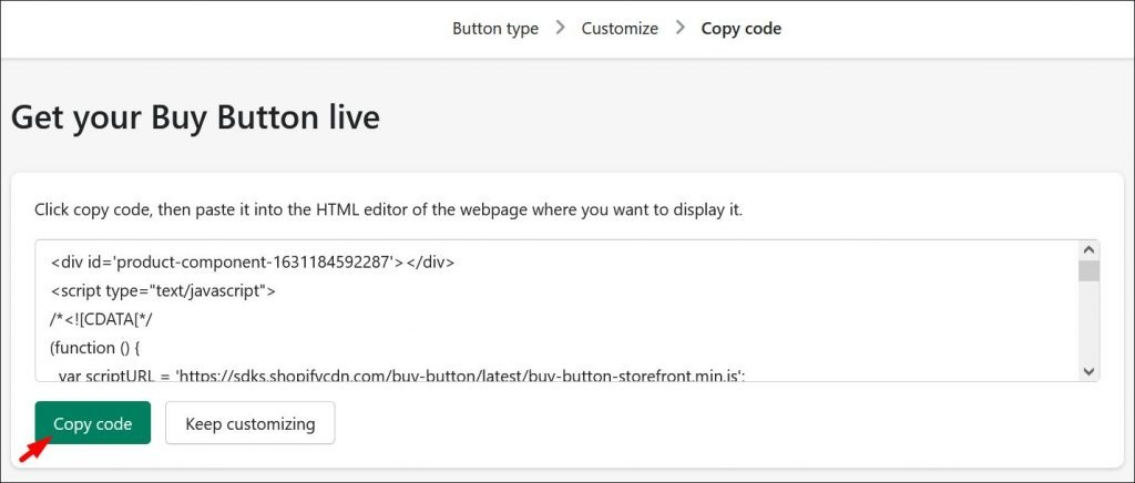 Getting your Shopify buy button live