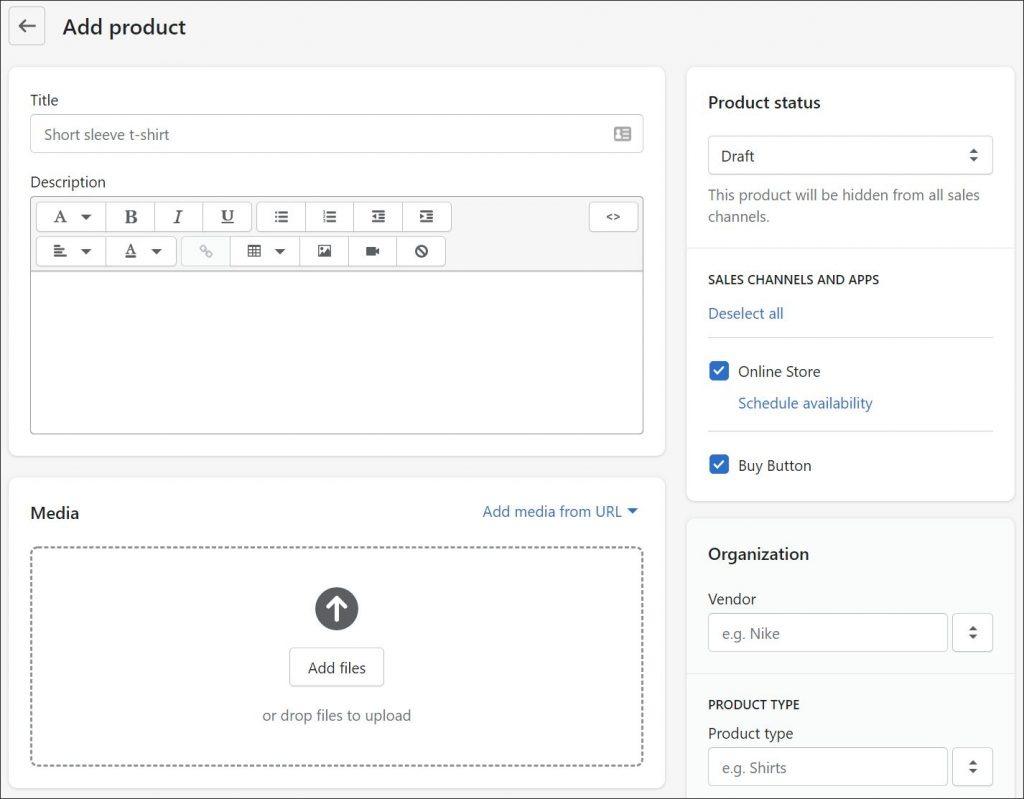 A screenshot of a Shopify products configuration menu