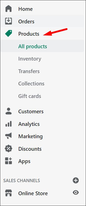 Shopify Products menu