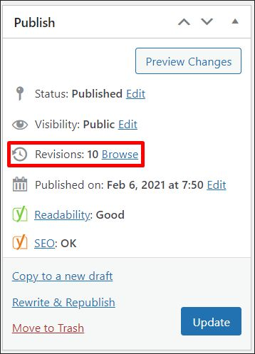 A screenshot of WordPress revision system