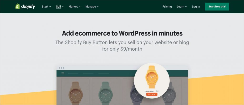 A screenshot of Shopify WordPress integration landing page