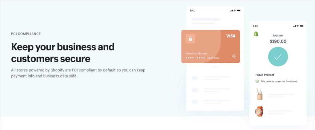 A screenshot of Shopify PCI compliance landing.