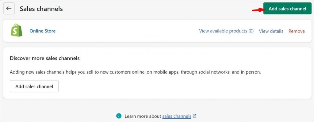 Creating a new sales channel inside Shopify