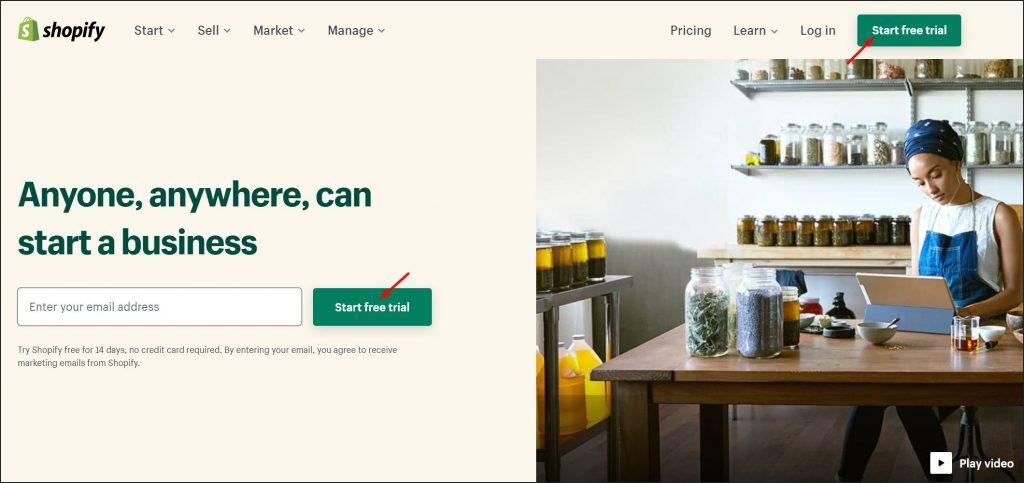 A screenshot of Shopify homepage